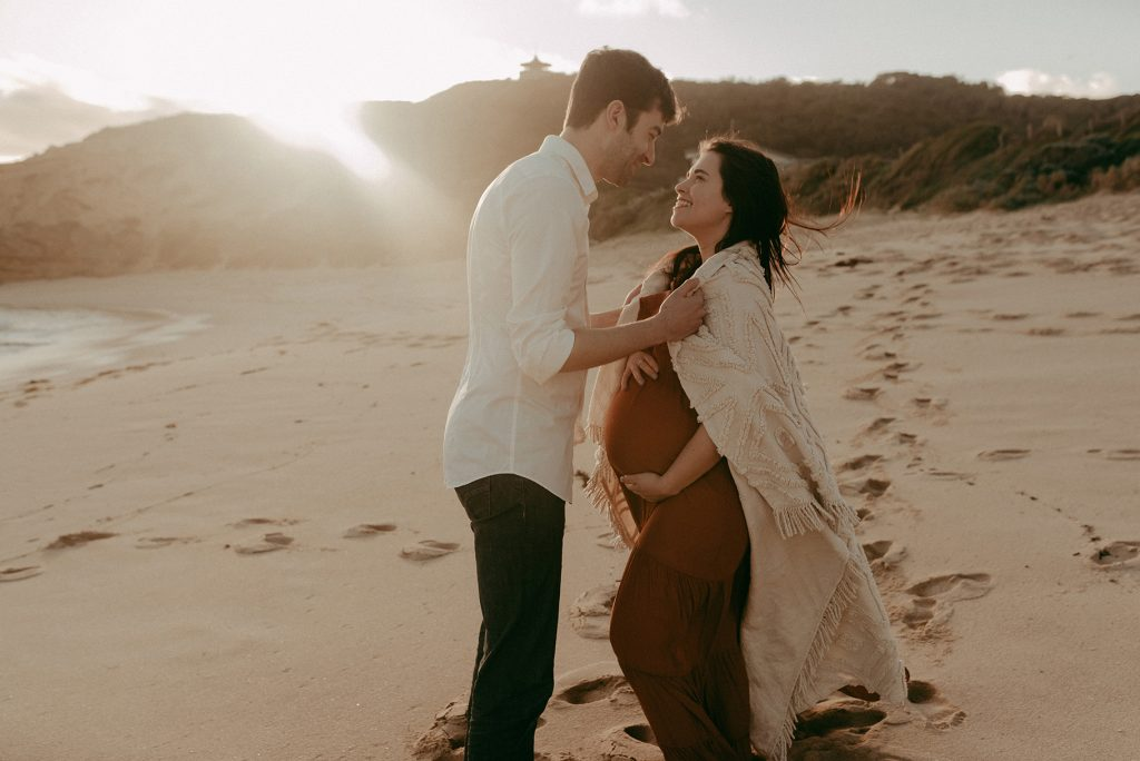 sorrento back beach maternity sunset photoshoot