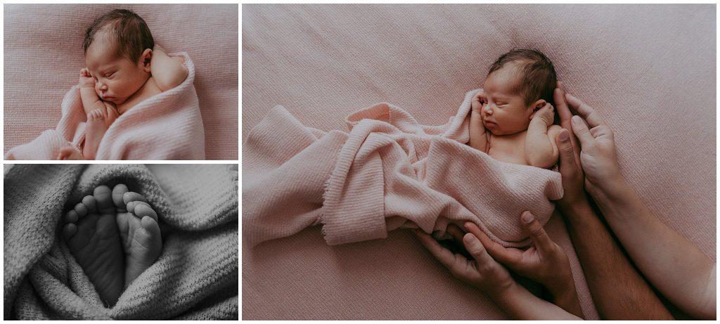 photoshoot in studio with newborn baby girl